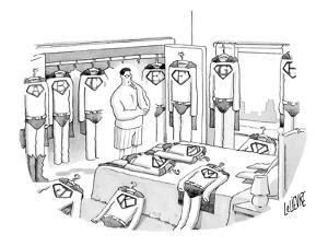 Superman is deciding what to wear, surrounded by costumes emblazoned with ? - New Yorker Cartoon by Glen Le Lievre