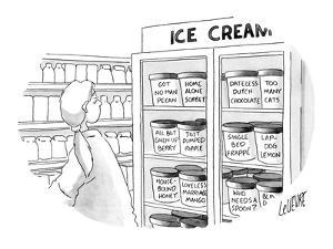 Woman at ice cream freezer looks at various flavors like, 'Got No Man Peca? - New Yorker Cartoon by Glen Le Lievre