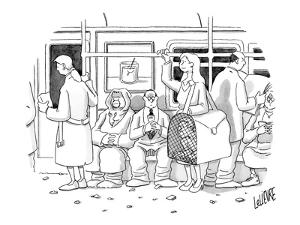 Woman on the subway with a man inside a large pet carrier.  - New Yorker Cartoon by Glen Le Lievre