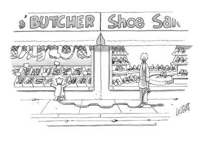 Woman, walking her dog, looks into window of shoe store as her dog looks i? - New Yorker Cartoon