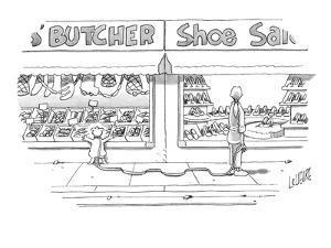 Woman, walking her dog, looks into window of shoe store as her dog looks i? - New Yorker Cartoon by Glen Le Lievre
