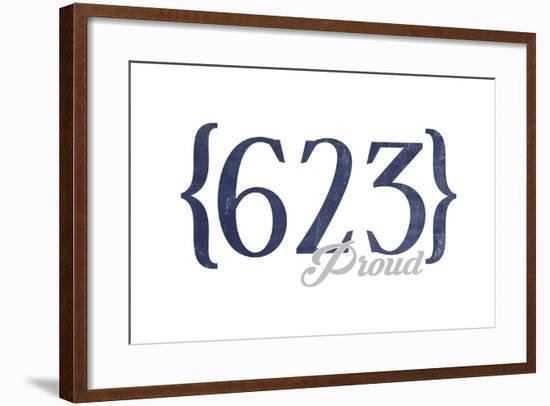 Glendale, Arizona - 623 Area Code (Blue)-Lantern Press-Framed Art Print