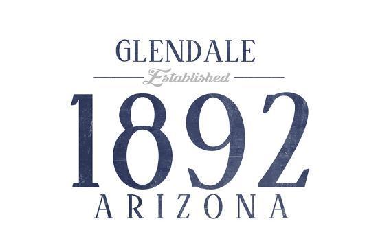 Glendale, Arizona - Established Date (Blue)-Lantern Press-Art Print