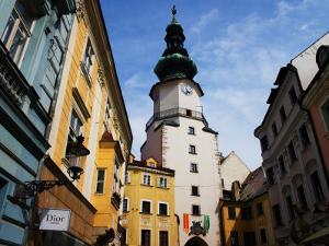 Buildings Near Michael's Tower in Old Town, Bratislava, Slovakia by Glenn Beanland