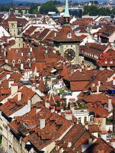 City Buildings From Top of Munster, Bern, Switzerland by Glenn Beanland
