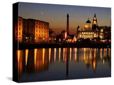 """Night View of Albert Dock and the """"Three Graces,"""" Liverpool, United Kingdom"""