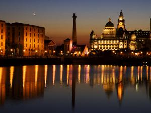 """Night View of Albert Dock and the """"Three Graces,"""" Liverpool, United Kingdom by Glenn Beanland"""