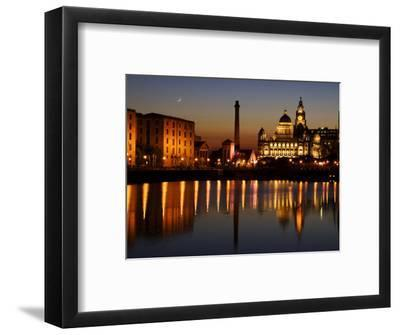 "Night View of Albert Dock and the ""Three Graces,"" Liverpool, United Kingdom"