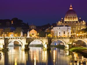 St Peter's Basilica from the Tiber River at Dusk by Glenn Beanland