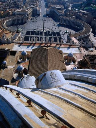 Unequalled View of Rome and Piazza San Pietro from Dome of St. Peter's Basilica, Vatican City