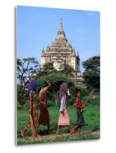 Villagers Walking on Path Near Thatbyinnyu Old Bagan, Mandalay, Myanmar (Burma) by Glenn Beanland