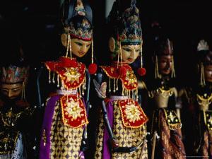 Wayang Golek Puppets for Sale at Jalan Surabaya Antique Market, Jakarta, Indonesia by Glenn Beanland