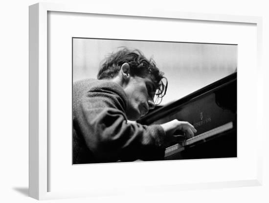 Glenn Gould performing with the Berlin Philharmonic Orchestra under Herbert von Karajan.Berlin1957-Erich Lessing-Framed Photographic Print