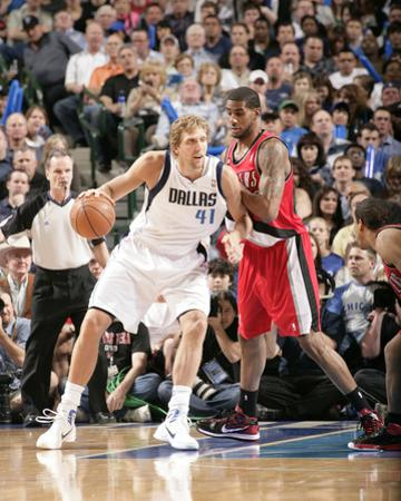 Portland Trail Blazers v Dallas Mavericks - Game One, Dallas, TX - APRIL 16: Dirk Nowitzki and LaMa