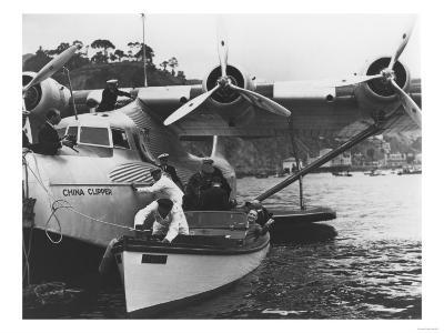 Glenn Martin with China Clipper - Catalina 25th Anniversary Photograph-Lantern Press-Art Print
