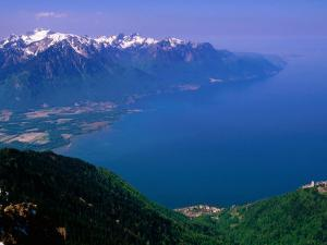Montreux, Lake Geneva and French Alps from Rochers de Naye, Montreux, Vaud, Switzerland by Glenn Van Der Knijff