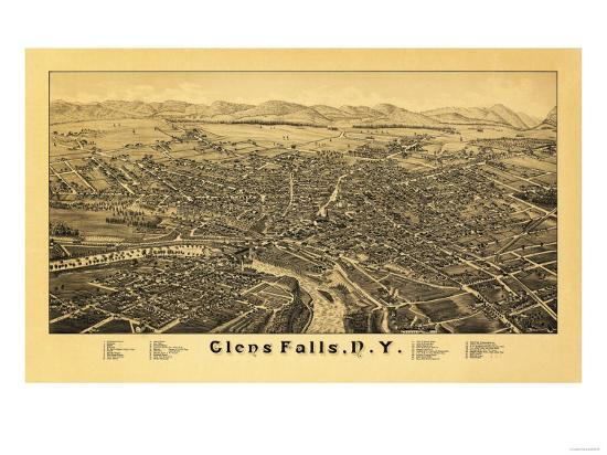 Glens Falls, New York - Panoramic Map-Lantern Press-Art Print