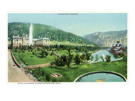 Glenwood Springs, Colorado, Panoramic View of the Hotel Colorado and Hot Springs-Lantern Press-Art Print