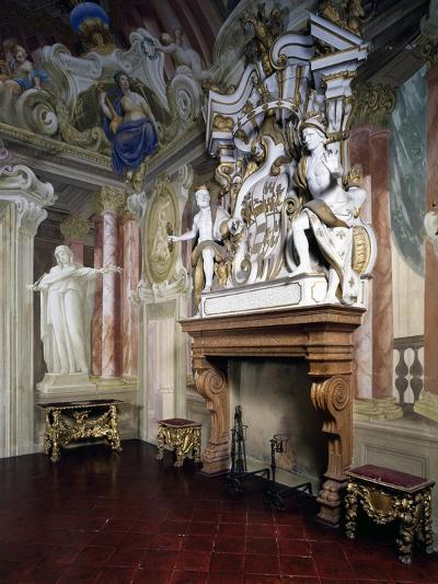 Glimpse of Room of Strong Women with Frescoes by Giovanni Bolla and Leonardo Clerici--Giclee Print