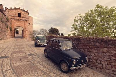 Glimpse of Spello with Vintage Cars in the Foreground, Spello, Perugia District, Umbria, Italy-ClickAlps-Photographic Print