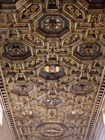 Glimpse of the Coffered Ceiling with Geometric and Floral Elements and Figures of Saints--Giclee Print