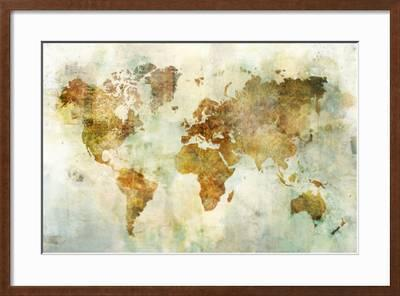 global PATTERNED MAP Wedge Frame Picture Canvas World Map Modern Brown Ken Roko