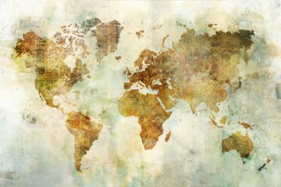 Global Patterned Map-Ken Roko-Art Print