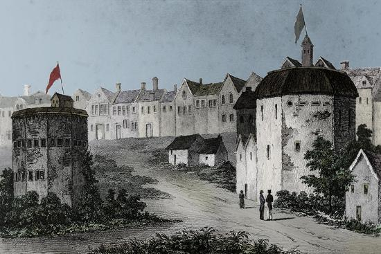 Globe Theatre, Bankside, Southwark (right) and the Bear Garden, c1597 (1825)-Unknown-Giclee Print