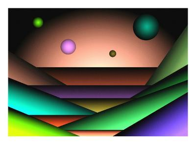 Globes Floating over Layers-Rich LaPenna-Giclee Print