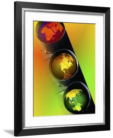 Globes in Traffic Light-Carol & Mike Werner-Framed Photographic Print