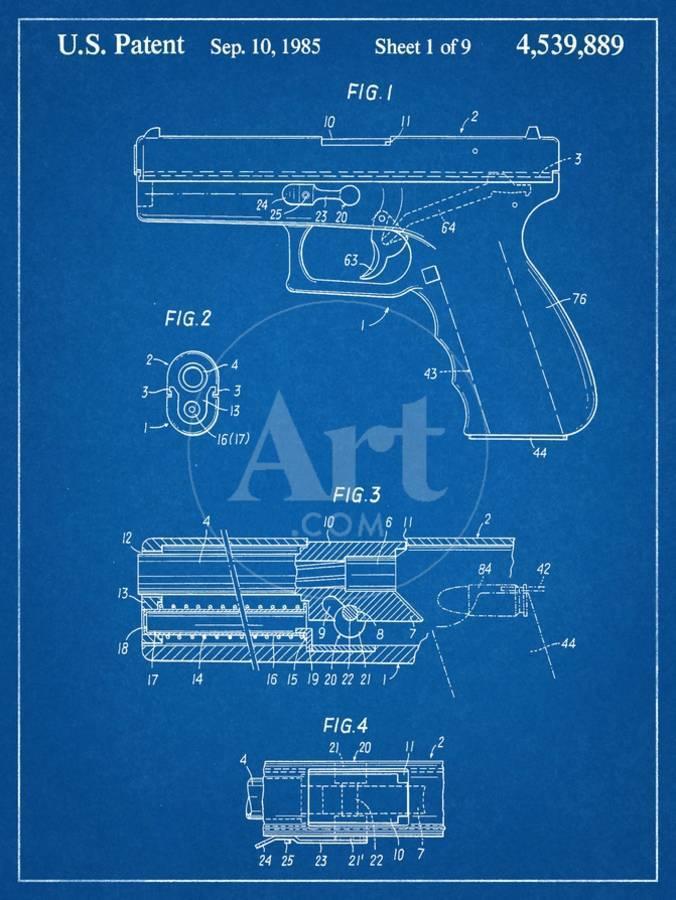 Glock Pistol Patent Art Print by | Art com