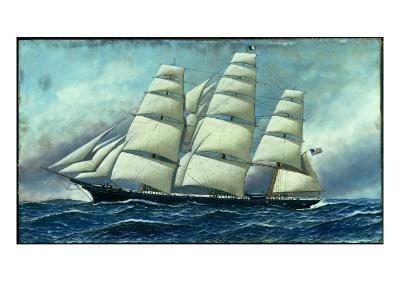 Glory of the Seas' in Full Sail, 1919-Antonio Jacobsen-Giclee Print