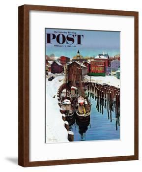 """""""Gloucester Harbor in Winter,"""" Saturday Evening Post Cover, February 4, 1961-John Clymer-Framed Giclee Print"""