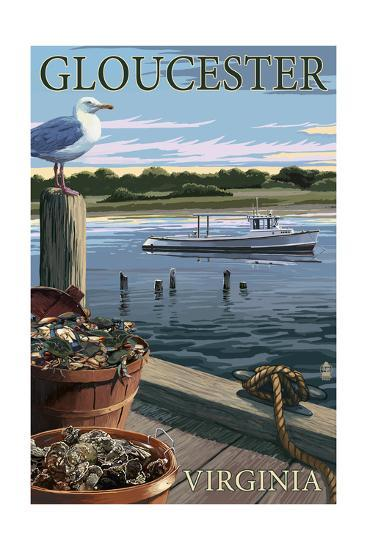Gloucester, Virginia - Blue Crab and Oysters on Dock-Lantern Press-Art Print