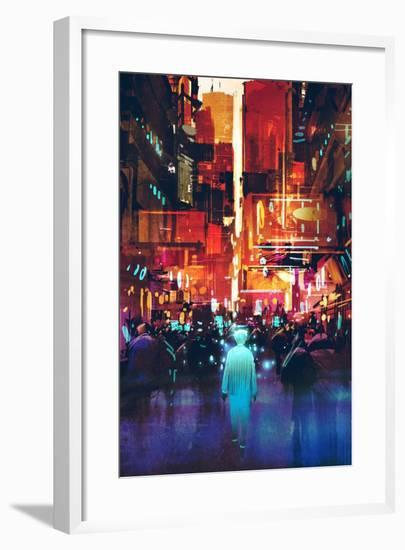 Glowing Blue Man Walking in Futuristic City with Colorful Light,Illustration Painting-Tithi Luadthong-Framed Premium Giclee Print
