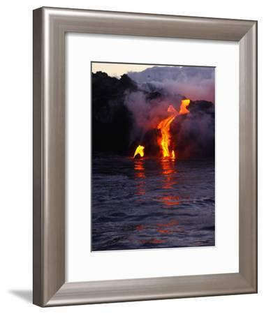 Glowing Lava Flowing into the Sea-Patrick McFeeley-Framed Photographic Print