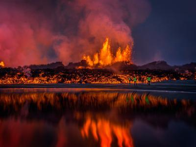 Glowing Lava from the Eruption at the Holuhraun Fissure, Near the Bardarbunga Volcano, Iceland--Photographic Print