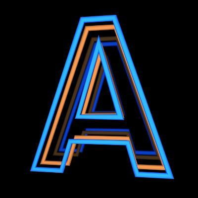 Glowing Letter A Isolated On Black Background-Andriy Zholudyev-Art Print