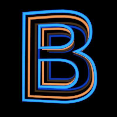 Glowing Letter B Isolated On Black Background-Andriy Zholudyev-Art Print
