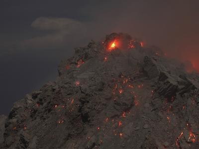 Glowing Summit of Rerombola Lava Dome of Paluweh Volcano-Stocktrek Images-Photographic Print