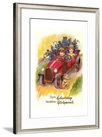 Glückwunsch Geburtstag, Auto, Blumen, Brief, Hund--Framed Giclee Print