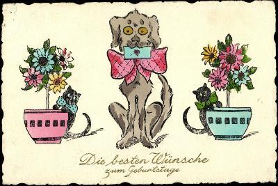 Gluckwunsch Geburtstag Hund Mit Brief Katzen Blumen Giclee Print