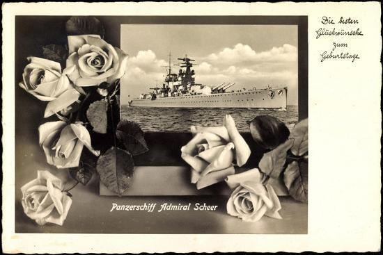 Glückwunsch Geburtstag, Panzerschiff Admiral Scheer--Giclee Print