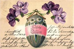 Glückwunsch Ostern, Bemaltes Osterei, Veilchen