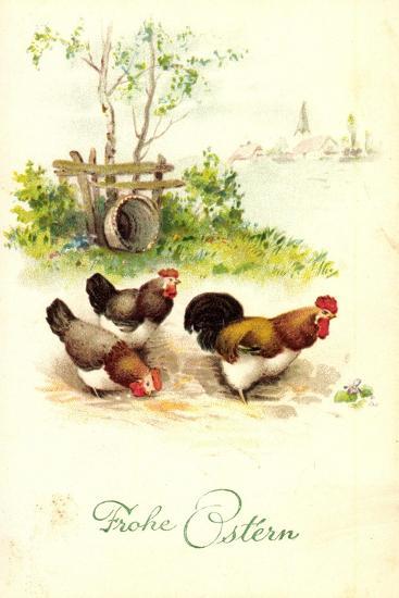 Glückwunsch Ostern, Hahn Mit Hennen Auf Dem Hof--Giclee Print