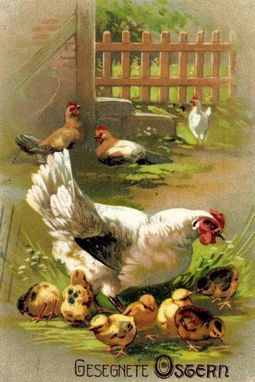 Glückwunsch Ostern, Henne Mit Ihren Küken--Giclee Print