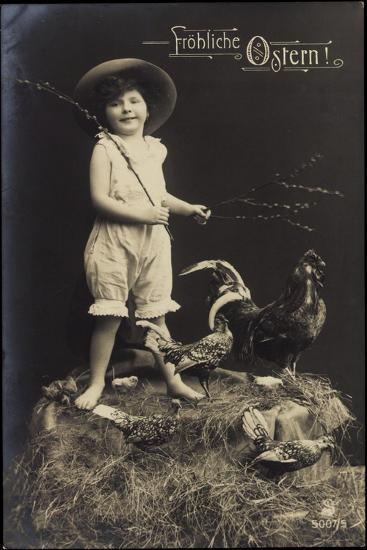 Glückwunsch Ostern, Kind Mit Hut, Ausgestopfter Hahn--Giclee Print