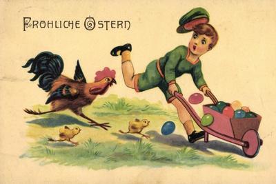Glückwunsch Ostern, Kind, Ostereier, Küken, Hahn--Giclee Print