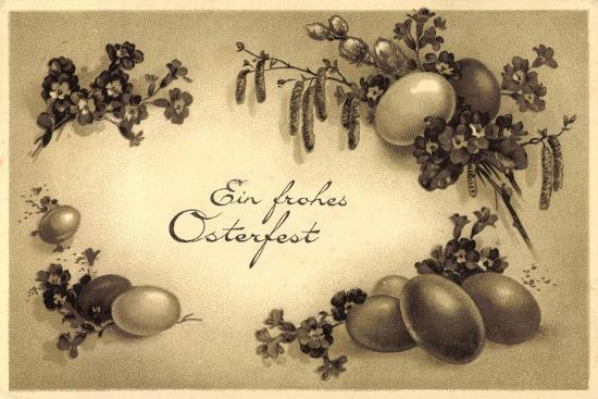 Glückwunsch Ostern, Kranz Aus Eiern, Weidenkätzchen--Giclee Print