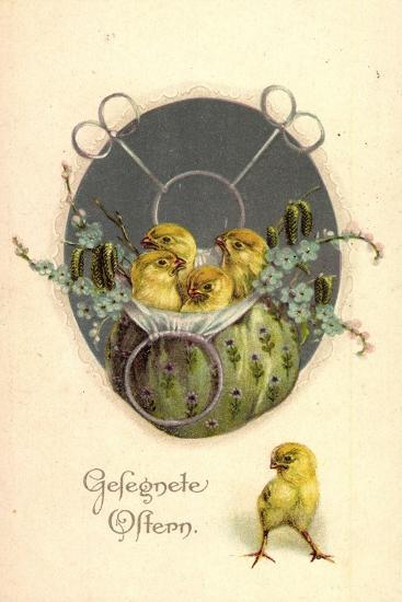 Glückwunsch Ostern, Küken in Einem Beutel--Giclee Print